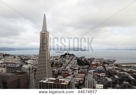 Areal view on Transamerica building and Coit Tower on overcast day  in San Francisco