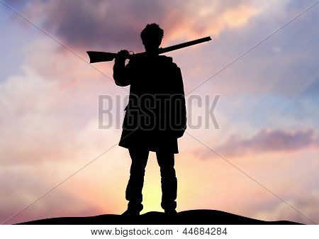 Rifle man on horizon