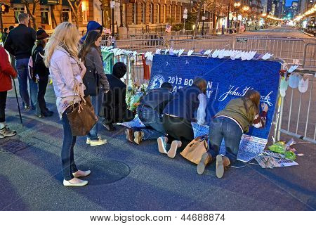 Boston - Apr 18: People Poured Over The Memorial Set Up On Boylston Street In Boston, Usa On April 1