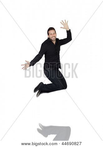 Young Man Jumping In Joy Over White Background