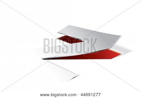 Paper folding with letter Z in perspective view. Editable vector format in portfolio.