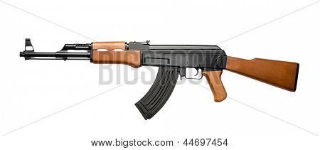 Russian assault rifle AK-47 isolated on white