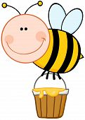 Smiling Bee Flying With A Honey Bucket Cartoon Character poster