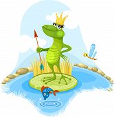 vector illustration of a cute  fairytales frog poster