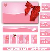 Illustration of pink price notes with hearts flowers and discount poster