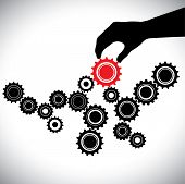 Cogwheels in black & white controlled by red gear by hand(person). This graphic vector illustration represents importance of key person(leader) in the team for the balance & smooth functioning poster