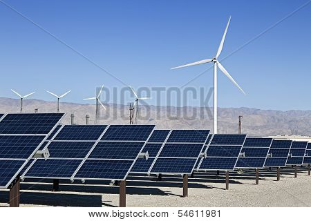Solar Panels and Wind Turbine Power