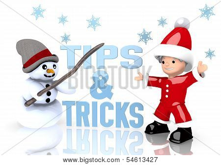 Tips Sign Presented By Snowman And Santa Claus