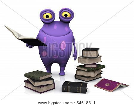 A Spotted Monster Holding A Book.