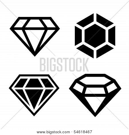 Diamond vector icons set. Easy clear shape. Vector. poster