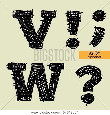 art sketched stylized alphabet in vector, black grungy ink font, signs V, W, point, comma, exclamation and question marks