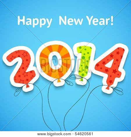 Happy New Year colorful greeting card with balloons. Vector