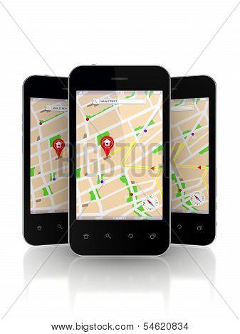 Mobile phones with GPS navigator on screen.