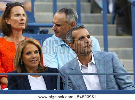 TV anchor Katie Couric during evening match at US Open 2013