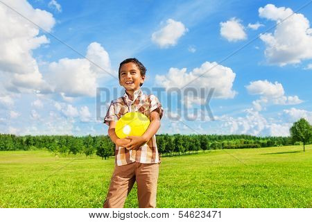 Boy With Volleyball Ball In The Park