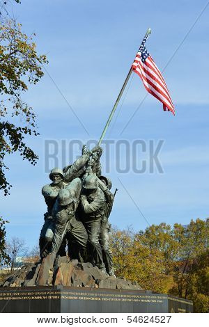 WASHINGTON, DC - NOV 12: Iwo Jima Memorial in Washington, DC on November 12, 2013. The Memorial honors the Marines who have died defending the US since 1775.and a prominent tourist attraction point