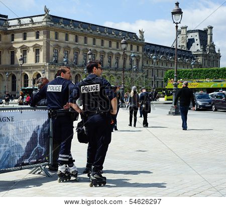 Police On Roller Skates In Paris , France