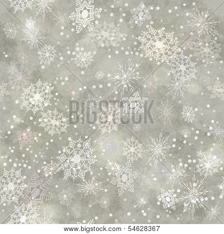 Wrapping Christmas vintage paper background with snowflake seamless pattern subtle grunge texture bokeh. Vector holiday winter retro wallpaper backdrop poster