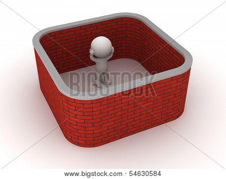 3D Man stuck with brick wall around him