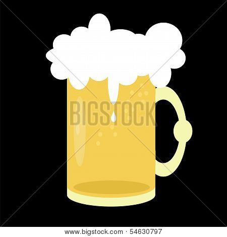 beer mug on black background