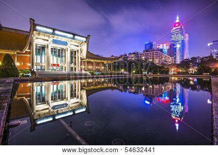 Taipei, Taiwan cityscape at Sun Yat-Sen Memorial Hall.