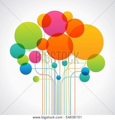 Set of colored circles and lines form the shape of an abstract tree. Concept network. The file is saved in the version AI10 EPS. This image contains transparency.