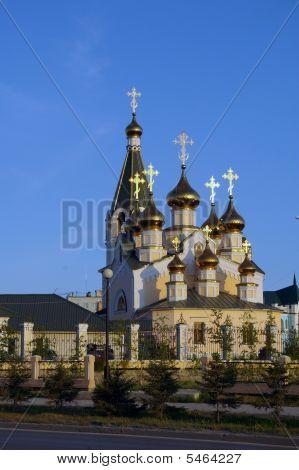 Orthodox church in Yakutsk Yakutia Russia Jule 2009 poster