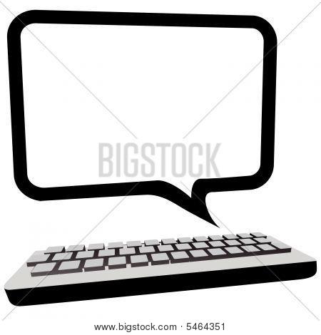 Речи пузырь коммуникации Copyspace на мониторе компьютера 3D