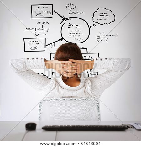 business, office, finances and technology concept - relaxed woman from the back with arms on head looking at plan on virtual
