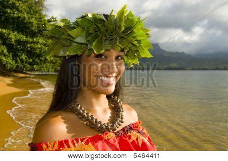 portrait of Hawaiian teenage girl smiling on the beach poster