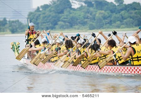 Dragon Boat Race Action