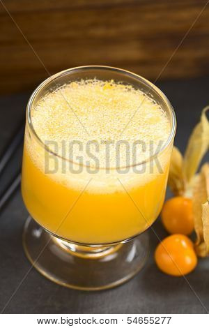 Peruvian Cocktail Called Aguaymanto (Physalis) Sour