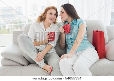 Two happy young female friends with coffee cups conversing in the living room at home