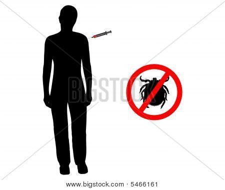 Black Silhouette Of Woman Gets An Immunization Against Ticks