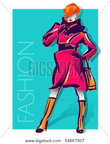 Fashion illustration with beautiful girl in red coat. Vector.