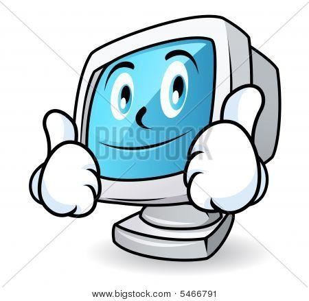 Computer Mascot - Thumbs Up