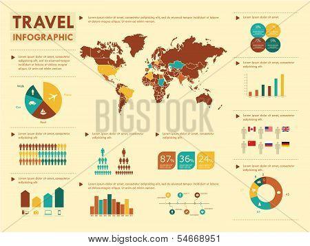 Retro travel infographic elements.