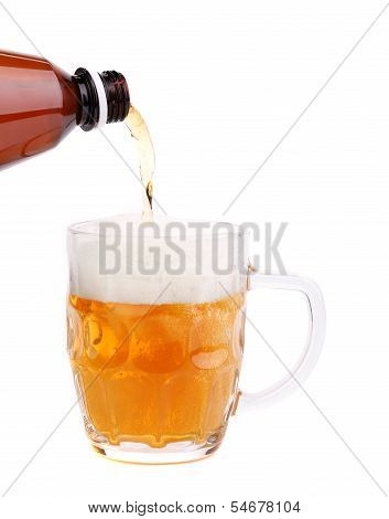 Bottleneck, stream, foam, glass of beer