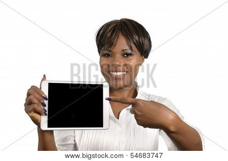 African Business Woman With Tablet Pc, Free Copy Space