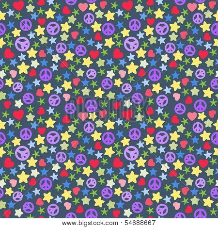 background of colorful stars pieces pacifist hearts on dark.
