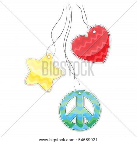 Colored stickers in the shape of heart a pacifist star hanging on a cord.