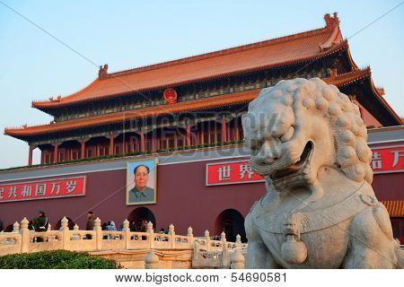 BEIJING, CHINA - APR 6: Lion Statue in Tiananmen on April 6, 2013 in Beijing, China. Tiananmen is a famous monument in Beijing and serves as a national symbol.
