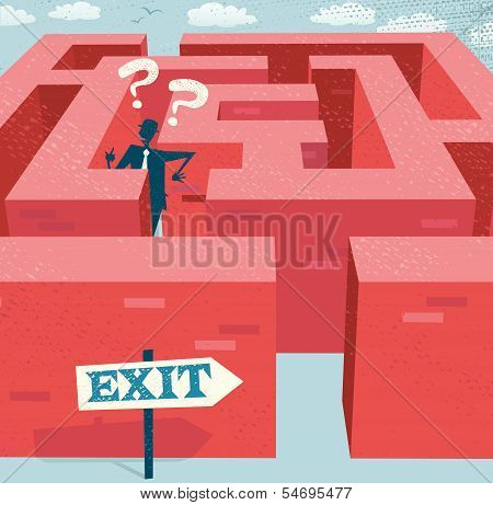 Abstract Businessman Lost In A Difficult Maze.eps