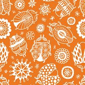 beetle floral doodle seamless vector pattern for backgrounds wedding textile interior and decoration orange poster