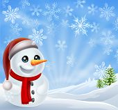 A cartoon snowman standing in a snow covered Christmas landscape winter scene poster
