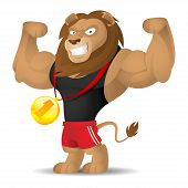 Illustration lion athlete shows muscles, format EPS 10 poster