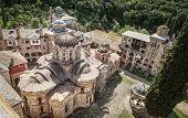 Christian Orthodox Monastery Hilandar. Holy Mount of Athos, Chalkidiki, Greece - republic of monks poster