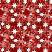Christmas wrapping paper pattern, red background with snowflakes poster