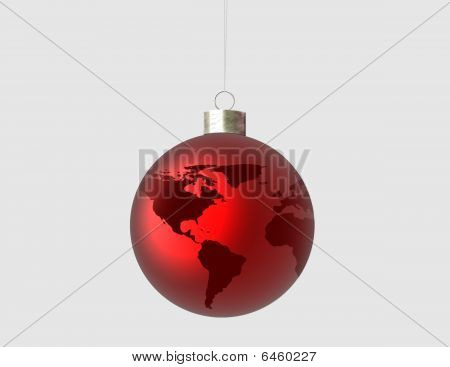 Red Ornament with world