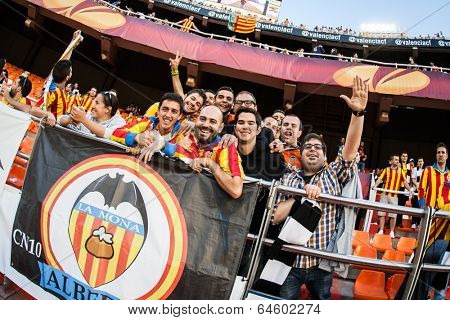 VALENCIA - MAY, 1: Valencia supporters during UEFA Europe League semifinals match between Valencia CF and Sevilla FC at the Mestalla Stadium on May 1, 2014 in Valencia, Spain